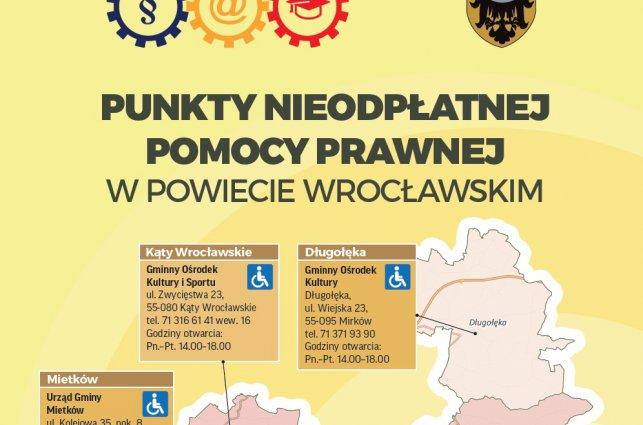 Informacja o punktach nieodpłatnej pomocy prawnej na terenie Powiatu Wrocławskiego.