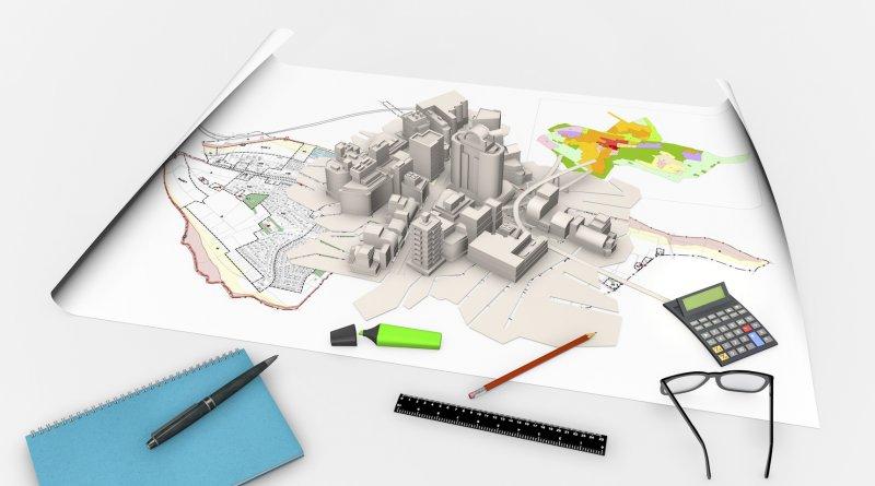 zdjęcie przedstawia makietę miasta w czasie prac urbanistycznych