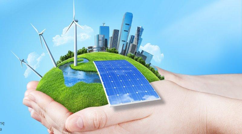grafika przedstawia dłonie trzymające nowoczesne źródła energii